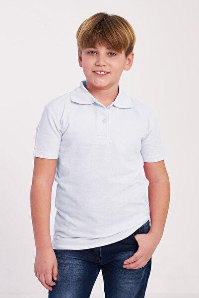 zepkids Erkek Çocuk Beyaz Polo Yaka Basic T Shirt