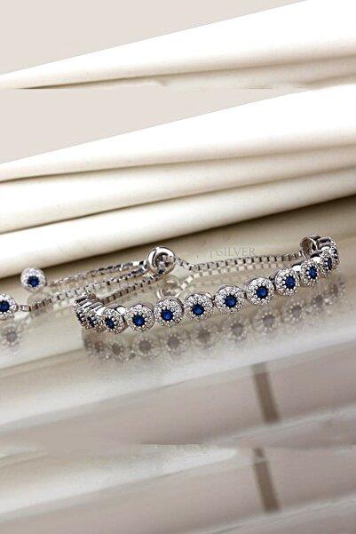 Else Silver 925 Ayar Gümüş Mavi Taşlı Asansörlü Bileklik