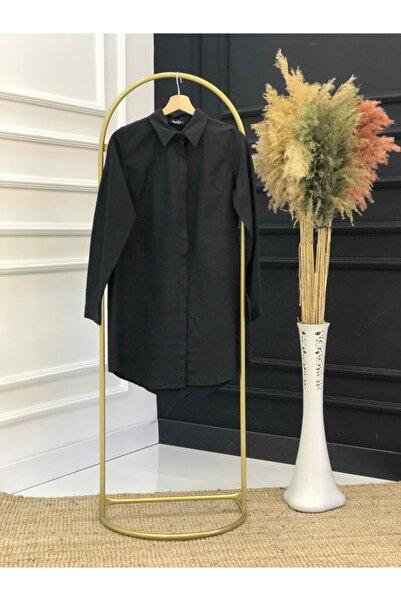 İmajButik Gizli Patlı Düğmeli Düz Tunik Gömlek-siyah