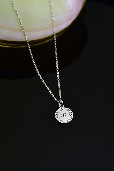 Papatya Silver 925 Ayar Gümüş Rodyum Kaplama Zeytindalı Kazıma Harf Kolye