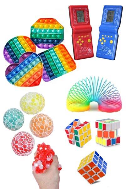 Ayver Stres Giderici Set 1 Popit 1 Rubik Zeka Küpü 1 Stres Yayı 1 Beyin Şekilli Stres Topu 1 Tetris Atari