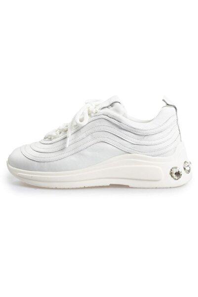 Flower Erkek Beyaz Deri Taşlı Taban Detaylı Sneakers
