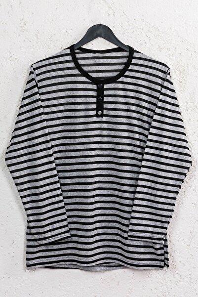 Line Smart Kadın Siyah Çizgili Pamuklu Düğmeli Bluz