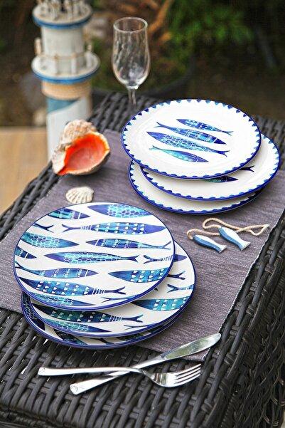 Kitchen Life 6'lı Özel Tasarım Handmade 21cm Pasta Tabak Seti - Blue Fısh