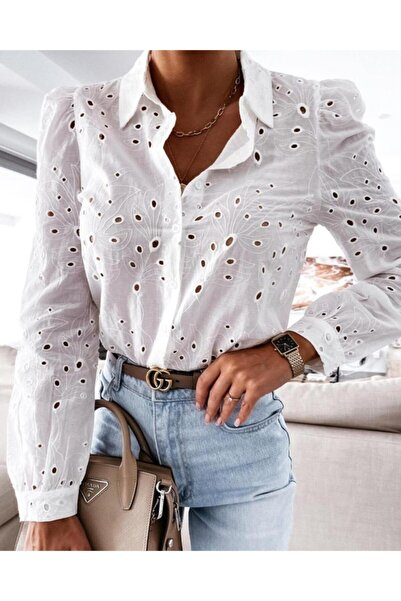 JADE Kadın Beyaz Prenses Kol Brode Gömlek