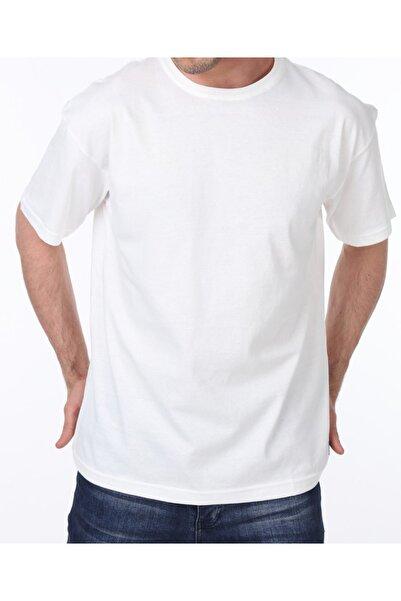 GENIUS Erkek Beyaz Oversize Bol Kesim Spor Tshirt