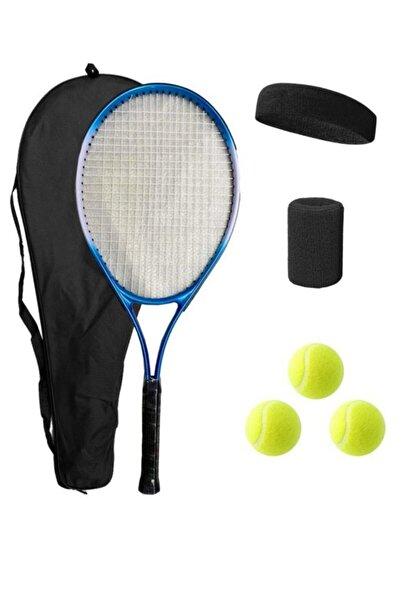 Liggo Yetişkin Kort Tenis Raketi 3 Top Çanta Bileklik Saç Bandı Seti