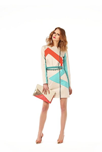 Ece Salıcı Kadın Ekru Geometrik Desenli ve Fermuarlı Ceket Elbise