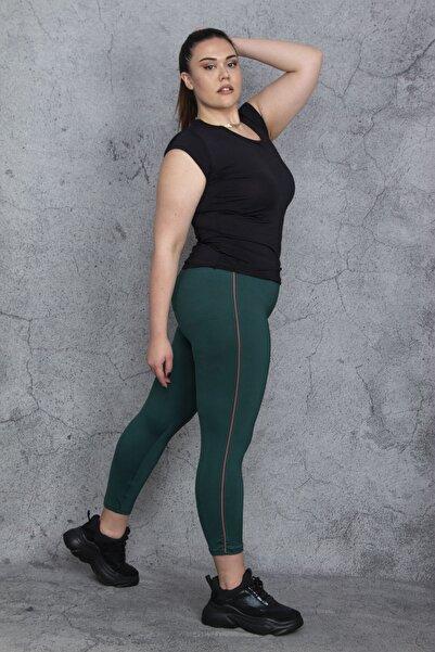 Şans Kadın Yeşil Bel Lastikli Yan Şeritli Mikro Jarse Spor Pantolon 65N24467