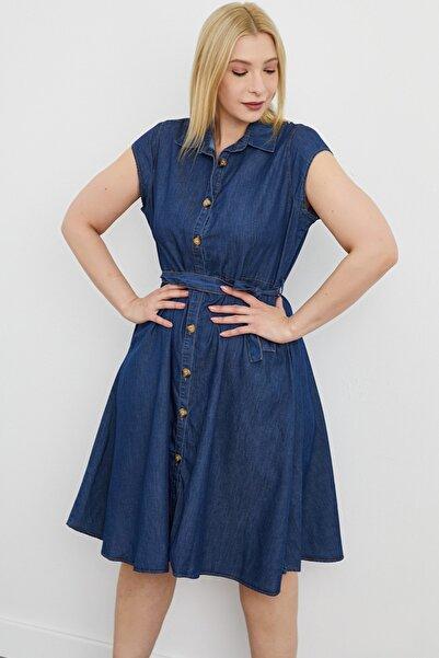 For Big Trend Kadın Mavi  Yakalı Bel Bağlamalı Ön Düğmeli Cepli Midi Kot Elbise