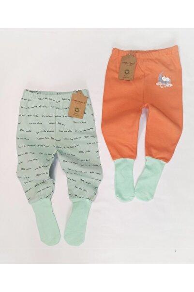 Mother Love Unisex Yeşil Turuncu Organik Pamuk Çoraplı Pantolon Pijama 2li 0-3 Yaş