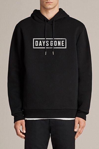 QIVI Erkek  Days Gone Logo Baskılı Siyah Örme Kapşonlu Sweatshirt Uzun Kol