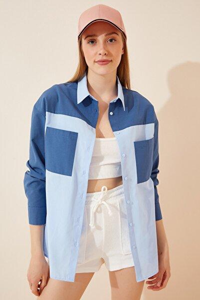 Happiness İst. Kadın Mavi Blok Renkli Hafif Oversize Poplin Gömlek DD00917