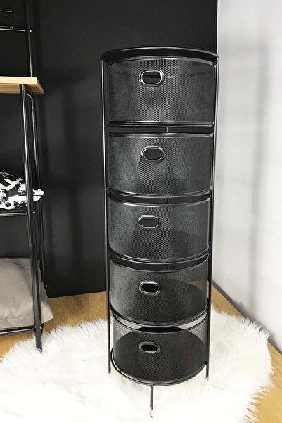 SepetçiBaba Drawe - Siyah Metal Sebzelik 5 Katlı