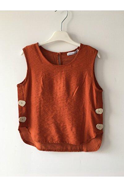 nk kids Kız Çocuk Kremit Renkli Sıfır Kollu Bluz