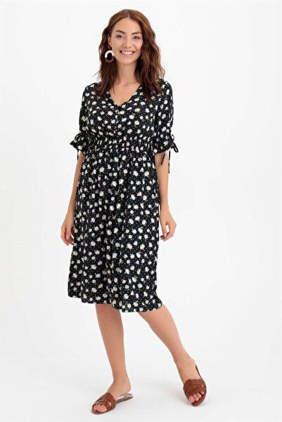 Chima Bağcıklı Çiçekli Elbise