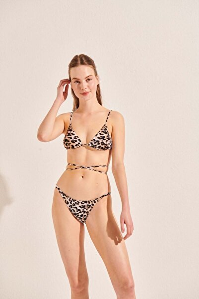 Beach&Beyond Kadın Kahverengi Leopar Üçgen Bikini Üstü