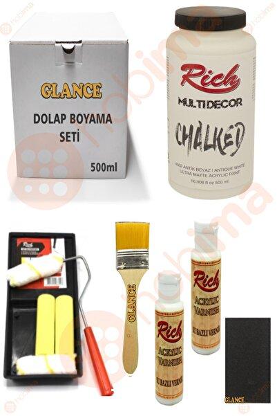 Rich Glance Dolap Boyama Antik Beyaz Tavalı Karma Rulo Set