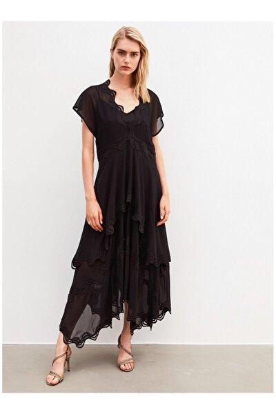 İpekyol Kadın Siyah Tüllü Uzun Elbise