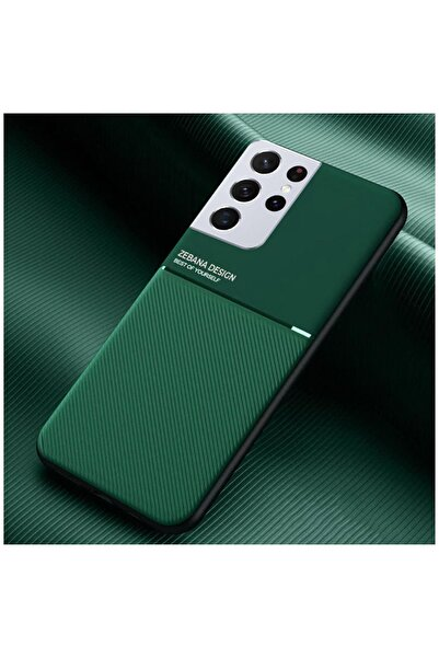 Zebana Samsung Galaxy S21 Ultra Kılıf Design Silikon Kılıf Yeşil