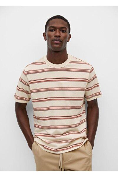 MANGO Man Erkek Ekru Pamuklu Çizgili Tişört