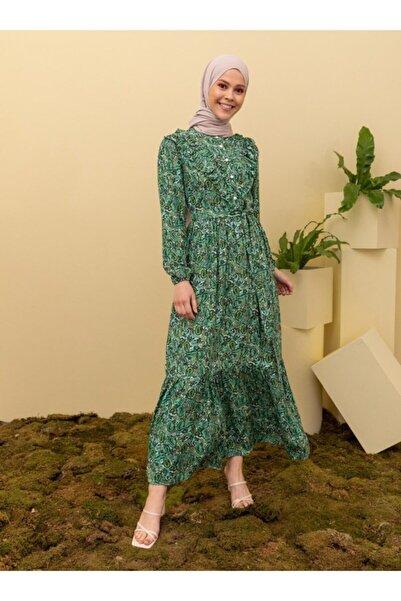 Loreen Kadın Desenli Elbise - Haki -