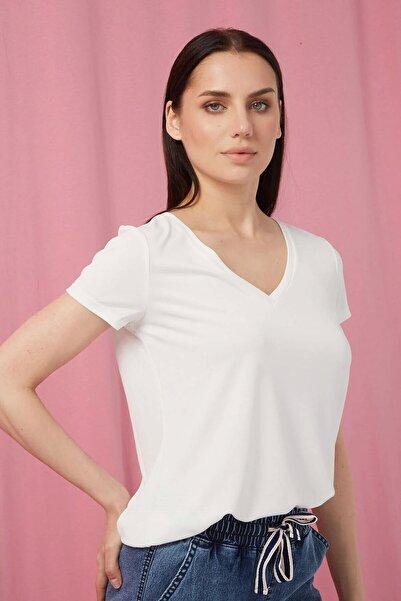 Fashion Friends Kadın Ekru Modal Soft-touch V Yaka Tshırt