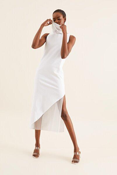 Quincey Kadın Beyaz Tül Detay Tunik Elbise