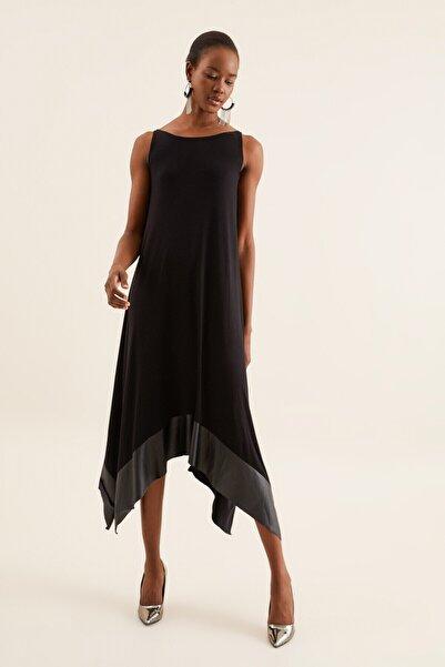 Quincey Kadın Siyah Deri Detaylı Asimetrik Elbise