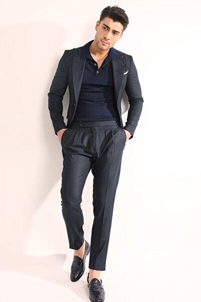 Fc Plus Erkek Lacivert Düz Armür Slım Fıt Takım Elbise -