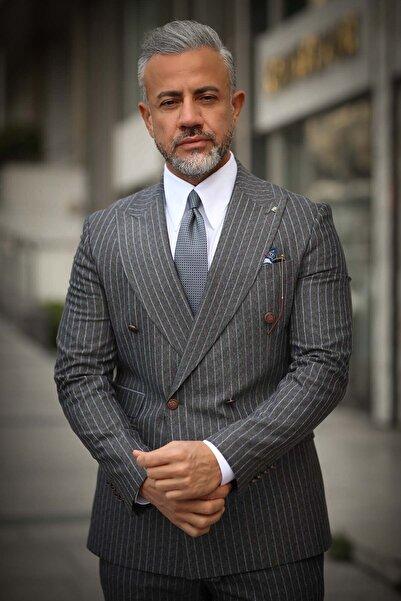 Fc Plus Erkek Antrasit Çizgili Metal Düğmeli Kruvaze Slım Fıt Takım Elbise