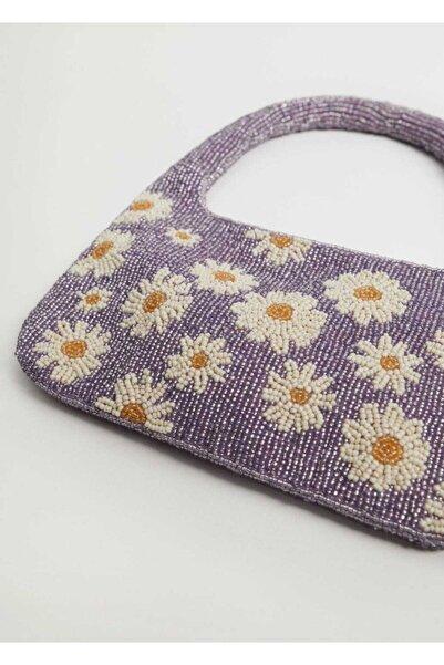 MANGO Woman Çiçek Boncuklu Mini Çanta