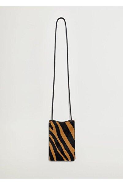 MANGO Woman Kadın Kahverengi Desenli Deri Mini Çanta