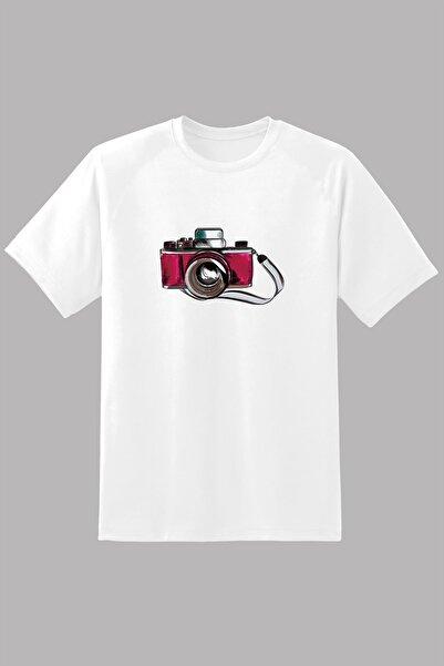 Kio Tişört Nostalji Kadın Beyaz  Eski Retro Analog Fotoğraf Makinası Baskılı %100 Pamuk Vintage5 Tişört