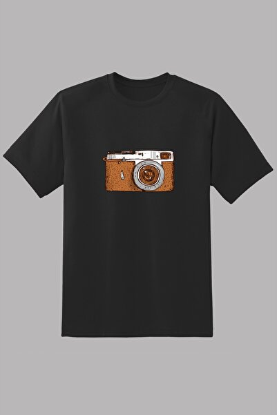 Kio Tişört Nostalji Erkek Siyah Eski Retro Analog Fotoğraf Makinası Baskılı Tişört