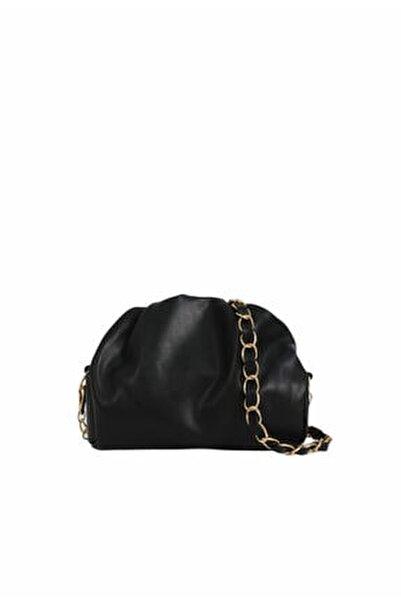 Kadın Siyah Fermuarlı Askılı Çanta