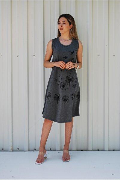 MGS LİFE Kadın Gri Kolsuz Kuş Baskılı Büyük Beden Elbise