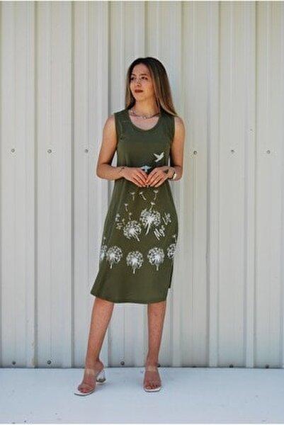 Kadın Haki Kolsuz Kuş Baskılı Büyük Beden Elbise