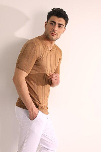 Fc Plus Erkek Camel V Yaka Triko T-shirt