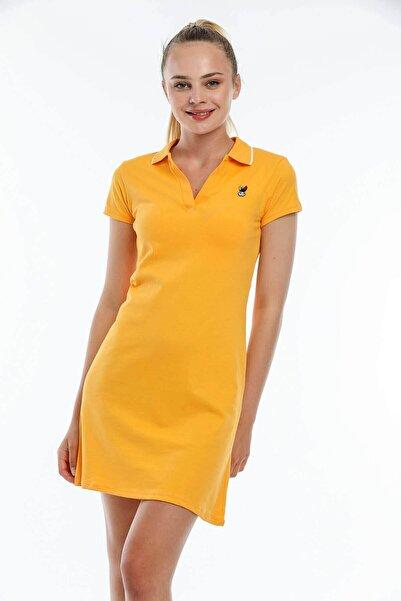 Mossta Kadın Sarı Tavşan Nakışlı Yazlık Elbise