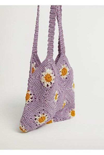 MANGO Woman Tığ Işi Çiçekli Çanta