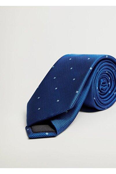 MANGO Man Erkek Mavi Geometrik Desenli Kravat