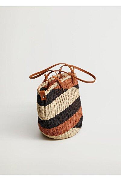 MANGO Woman Hasır Sepet Çanta