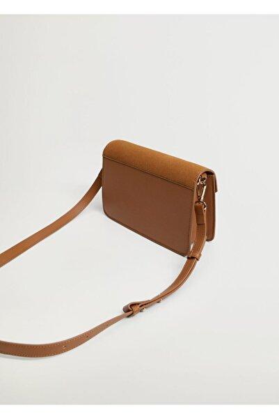 Violeta by MANGO Kadın Kahverengi Kapaklı Deri Çanta