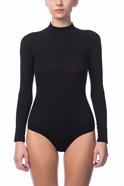 NBB Kadın Siyah Uzun Kol Çıtçıtlı Body 2960