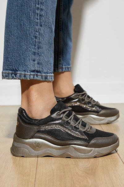 Tonny Black Kadın Bronz Bağcıklı Spor Ayakkabı Dgf142