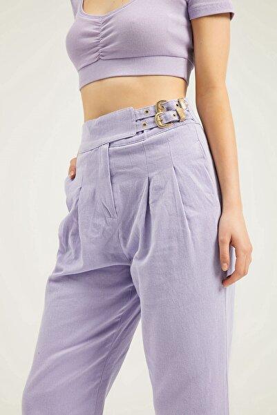 Quzu Kadın Mor Yanı Tokalı Pileli Pantolon
