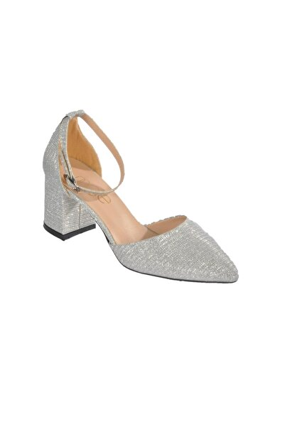 Maje Kadın Gümüş Simli Topuklu Ayakkabı