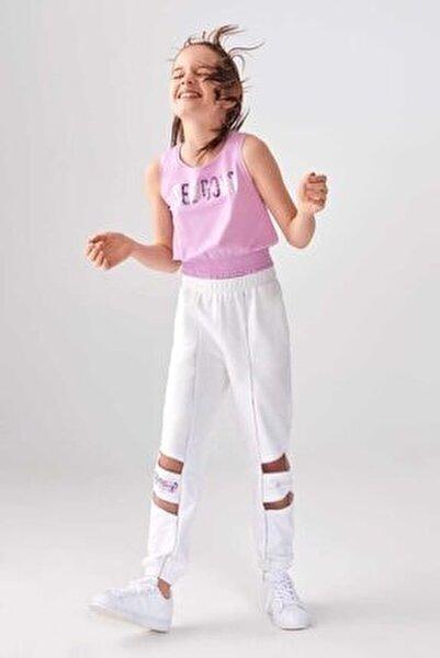 Kız Çocuk Beyaz Mor Paça Detay Takım
