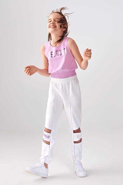 nk kids Kız Çocuk Beyaz Mor Paça Detay Takım